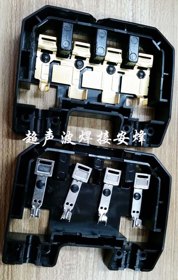 太阳能光伏接线盒实心柱压住金属件热熔热压焊接机