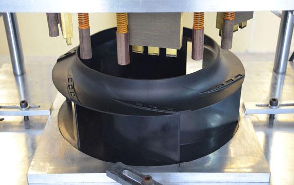 塑料风叶轮热熔焊接工装